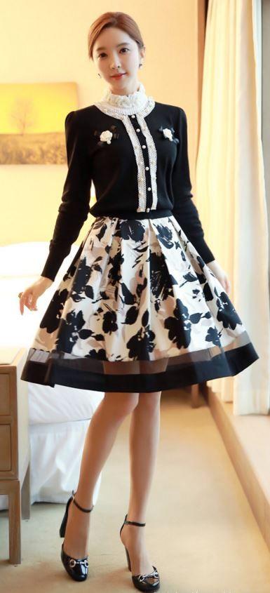 StyleOnme_Floral Printed Full Skirt #skirt #floral #printed #flowery #louisangel