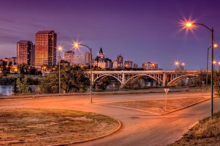 Saskatoon cityscape with the Broadway Bridge crossing the South Saskatchewan River.