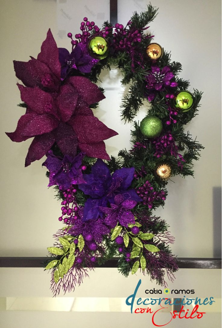Purple and green christmas wreath