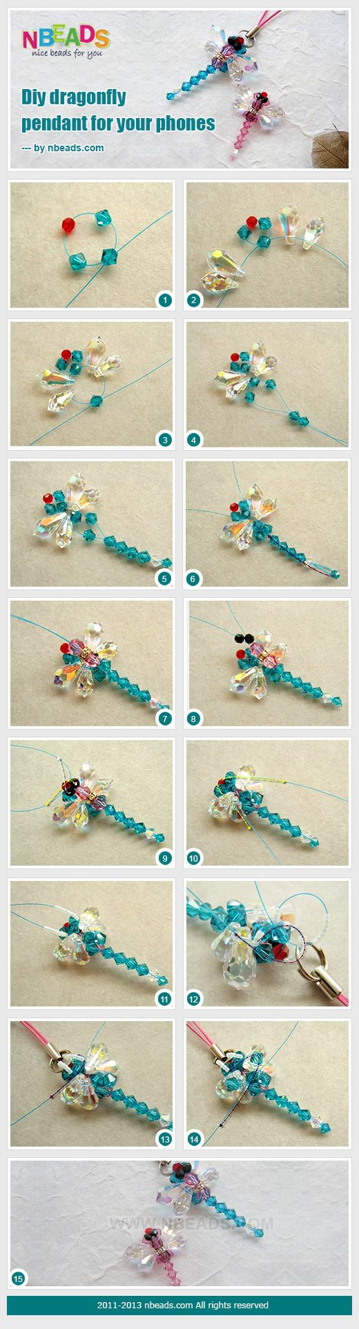 Summary: Using normal glass in different shapes for this dragonfly pendant creates a stunning beaded dragonfly. Shapes of round, bicone and drop beads are all chosen to make a colorful dragonfly. A cord loop with end is added to make it as a key or phone