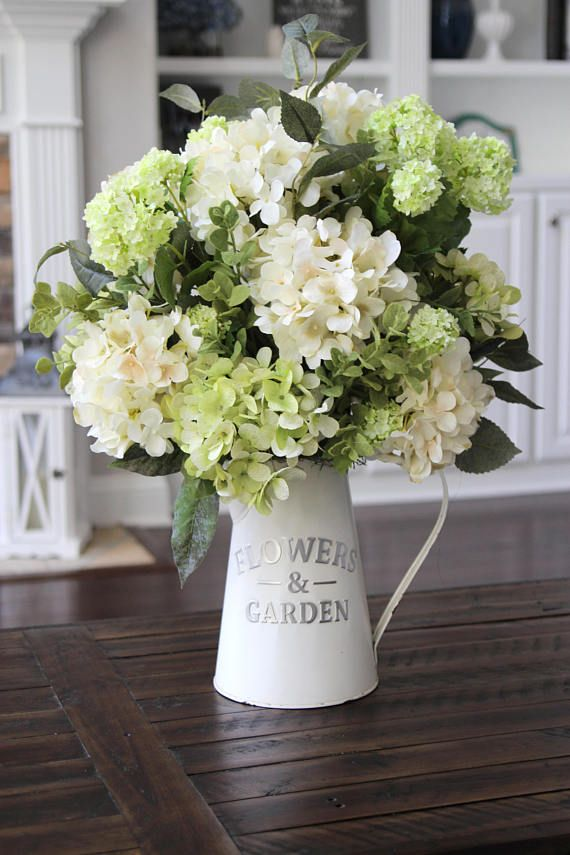 Rustic Farmhouse Decor, Table Centerpiece, Summer/Spring Floral Arrangement, Hydrangeas in a White Metal Pitcher