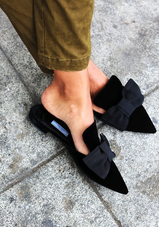 TheyAllHateUs | Page 3 // gorgeous black pointed mules with ribbon