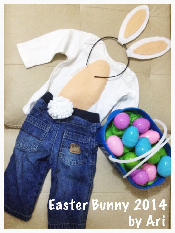Homemade Easter Bunny costume. Felt ears on plastic headband, felt tummy over plain onesie and felt tail pined to a pair of jeans. Did all by myself; I'm so proud!! Can't wait to see my son wear it. #bunny #costume #toddler