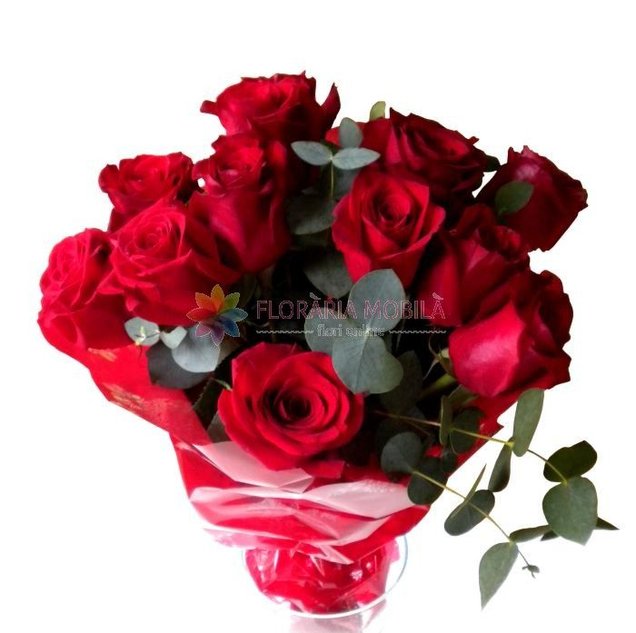 buchete trandafiri rosii 13 red roses bouquet for valentine's day