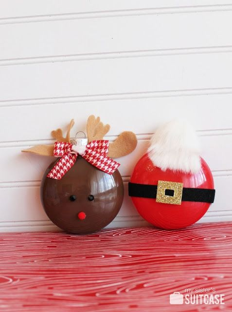 25 Handmade Christmas Ornaments 07 - My Sisters Suitcase - Rudolph and Santa Ornaments