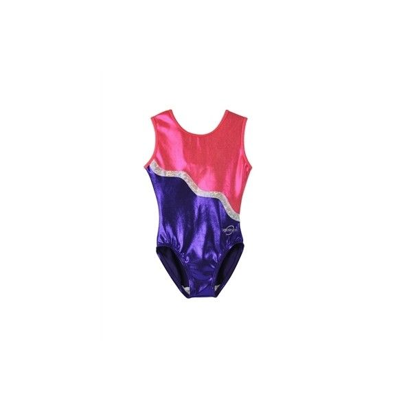 The Obersee Kids Gymnastics Leotard, Purple Ribbon is a scoop neck leotard for children featuring shimmering purple mystique material on the bottom half, shimm…