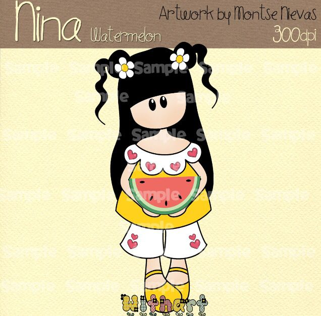 Nina dolls clipart, digital Illustration by Withart for scrapbooking, cardmaking and crafts. Summer, doll, watermelon. www.etsy.com/shop/withart