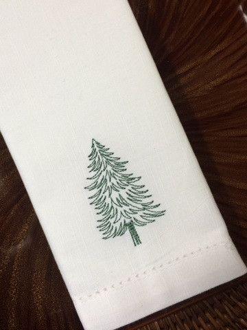 Woodland Christmas Tree Embroidered Cloth Napkins - Set of 4 napkins – White Tulip Embroidery