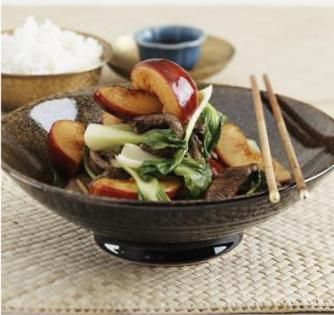 Delicious Chinese stir fry with plums.