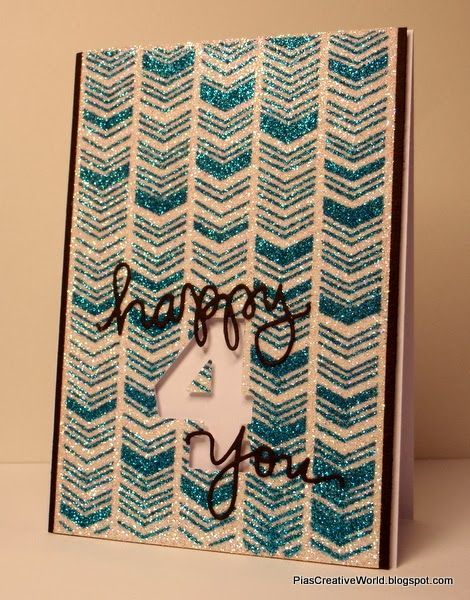 """Handmade glitter card. Made with Studio Calico """"Chevron Mask"""" stencil and lots of glitter. Sentiment created using My Favorite Things """"Big Numbers"""" die and Simon Says Stamp die-cuts."""