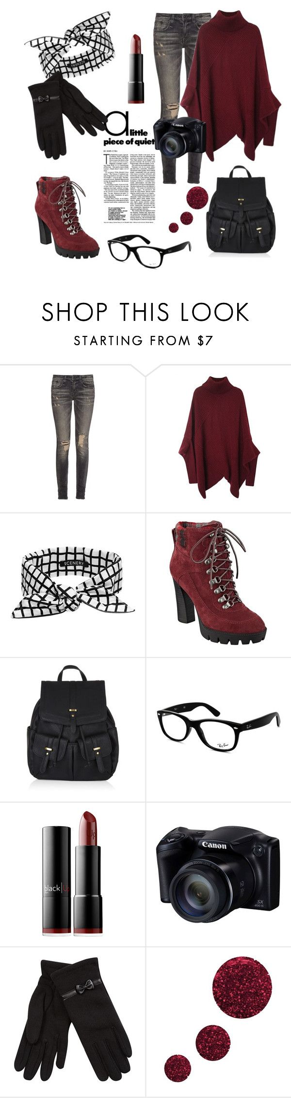 """""""hottie tottie"""" by mookix ❤ liked on Polyvore featuring moda, R13, SCENERY, Nine West, Accessorize, Ray-Ban, blacklUp, Isotoner y Topshop"""