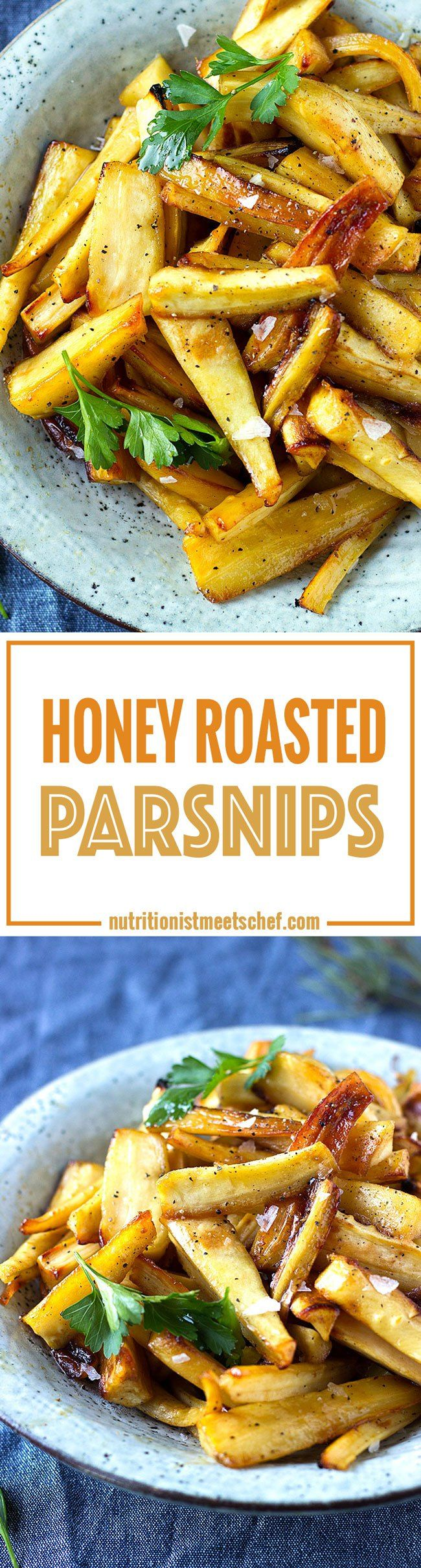 Honey Roasted Parsnips! Perfect for Christmas dinner or as a side dish! Get the recipe at nutritionistmeetschef.com