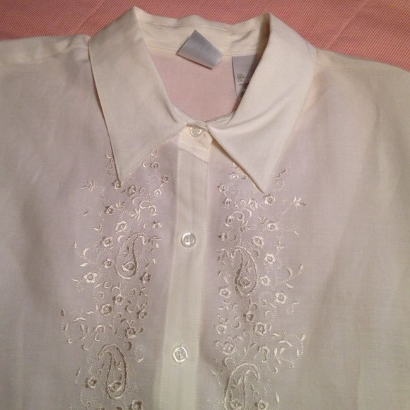 Short-sleeve embroidered blouse Light weight embroidered blouse, cream in color. Size listed as XL, but it is sized more like a large. Emma James Tops Blouses