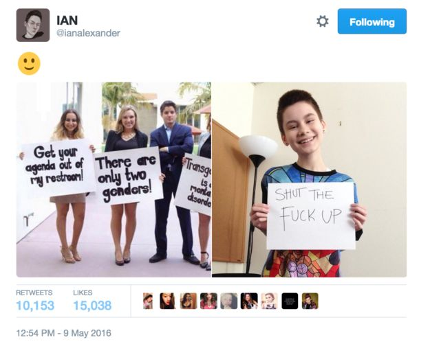 The 15-year-old told BuzzFeed News he took the photo of himself, holding the very direct message, while at work after spotting the original image online. | 12 Moments That Prove Queer Teens Totally Won 2016