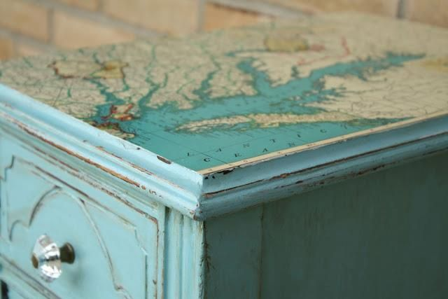 mod podge a map to a table top, bedside end tables (for beach themed bdrm)