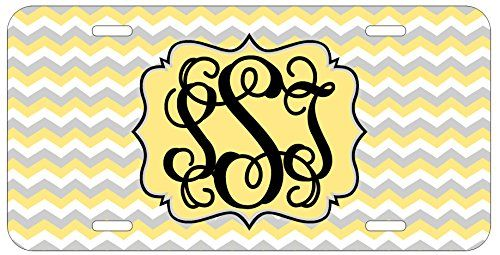 Personalized Monogrammed Chevron Yellow Grey Vine License Plate Auto Tag Top Craft Case http://www.amazon.com/dp/B00OMQD00A/ref=cm_sw_r_pi_dp_2Votub0WRPTC1