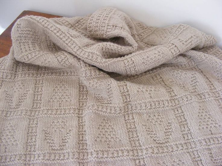 A beautiful Hand knitted Spring Inspired Lap / Cot Blanket in Sirdar Click  Double knit yarn. Heart /tree/flower/ house Detail - pinned by pin4etsy.com