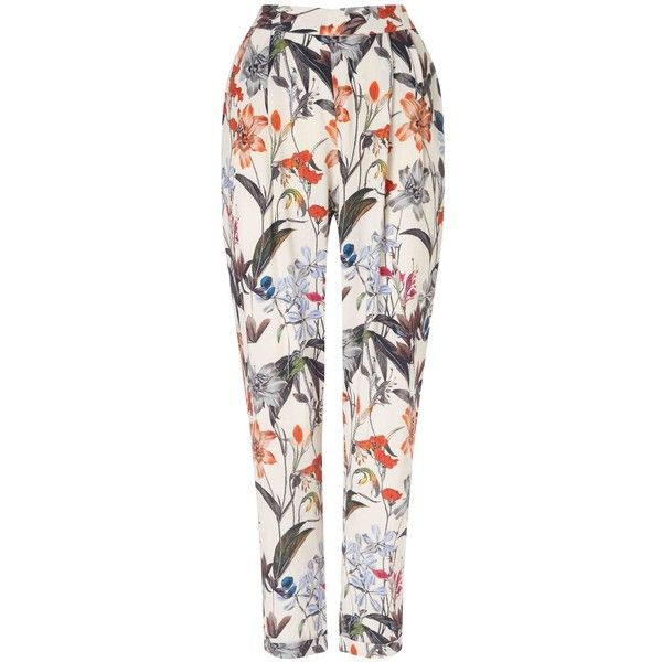 Phase Eight Marguerite Print Trousers (220 AED) found on Polyvore featuring women's fashion, pants, trousers, bottoms, calça, jeans, clearance, flower print pants, rayon pants and relaxed pants