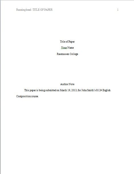 title page template apa