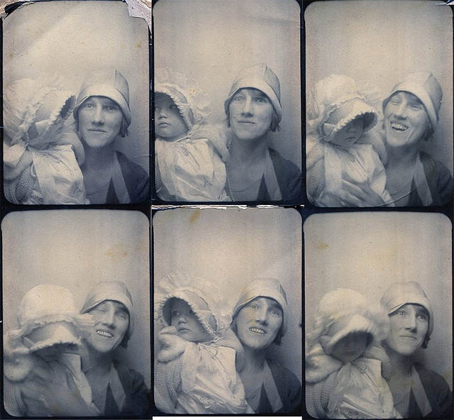 ** Vintage Photo Booth Picture ** Laughing Mom & Baby