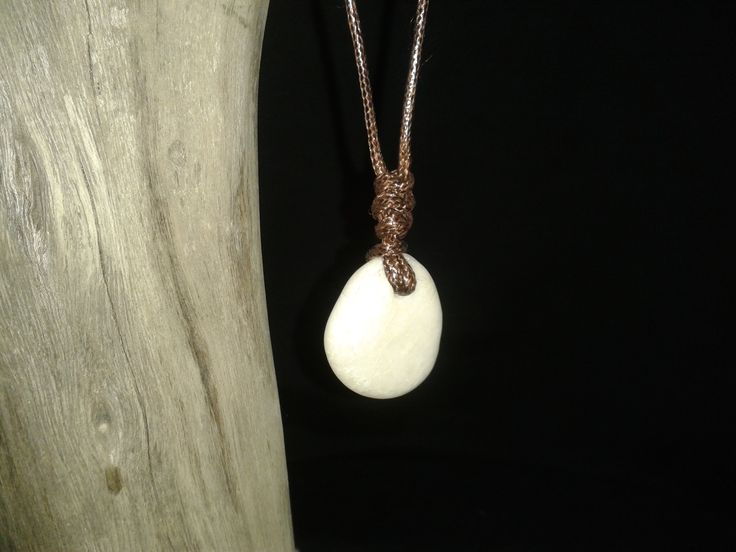 Beach stone pendant Adjustable cord necklace
