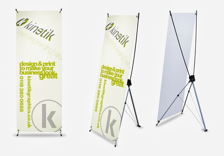 New! X-Banners, available from kinetik. 600mm wide by 1600mm tall. Ideal for small conference rooms and busy areas. Complete with great professional design, £133