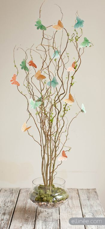 diy twig & butterfly centerpiece // for spring or easter