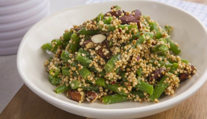 Green Beans with Almonds and Puffed Quinoa - Good Chef Bad Chef