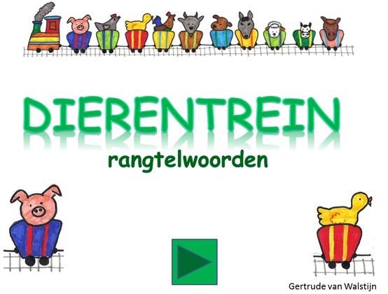 In deze digibordles komt er een trein voorbij met tien wagonnetjes In elk wagonnetje zit een (boerderij)dier. Er wordt gevraagd welk dier in welk wagonnetje zit. Heb je het goed dan hoor je het geluid van het dier. Deze les kan je klassikaal of in kleine kring aanbieden. Daarna kunnen de kinderen met de ingesproken versie hem zelfstandig spelen.  http://leermiddel.digischool.nl/po/leermiddel/d275b6c78ba2f26a3cffbfe9c32dc734