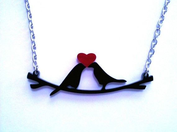Little Love Birds in Black Laser Cut Acrylic Charm by LicketyCut, $12.00. CUTE! I need to get this: Acrylics Inspiration, Charms Necklaces, Cut Jewelry, Acrylics Charms, Lasercut Acrylics, Black Lasercut, Charm Necklaces, Birds, Laser Cut Acrylics