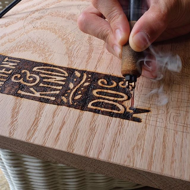 "// here's a process shot of a custom piece wood burned by hand. If you're interested, we have a wood burning tutorial on the ""learn"" page of our website too"