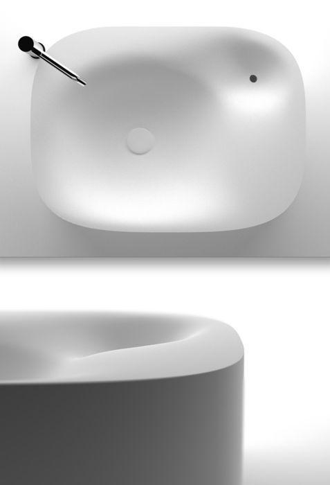 해외)곡선이 돋보이는 세면대이다. 비누걸이도 곡선으로 만들어 디자인의 통일성을 보였다.