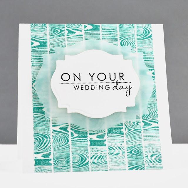 Vellum die cut mat...brilliant idea by Jennifer: Farewell Blog, Wedding Cards, Cards Ideas, Blog Hop, Cards Scrapbook, Woodgrain Stamps, Cards Pti, Cards Inspiration, Anniversaries Cards