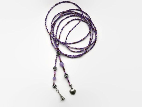 Lariat seed bead necklace, long necklace, shades of purple,  charms silver color, a heart and from the city of love: the Eiffeltower.