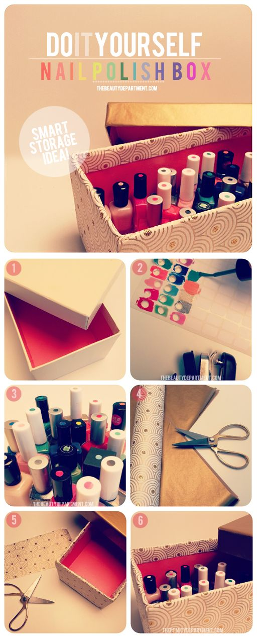 Here's a great way to store your nail polish and to be able to see each color when you open the box. #storage