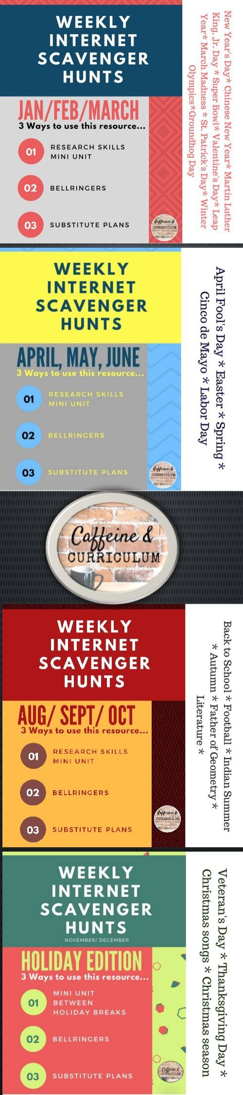 A collection of WEEKLY INTERNET SCAVENGER HUNTS that will cover the entire school year geared specifically toward high school and middle school students. Each week has FIVE questions relevant to that week of the year (ie holidays, Super Bowl, March Madness, etc.) $ (scheduled via http://www.tailwindapp.com?utm_source=pinterest&utm_medium=twpin)