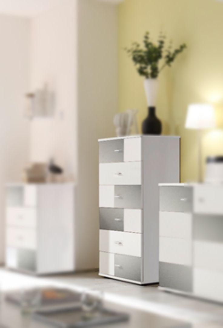 Kommode Weiss Hochglanz Metall Inox Woody 32 00168 Holz Modern Jetzt Bestellen Unter Moebelladendirektde Wohnzimmer Schraenke Kommoden