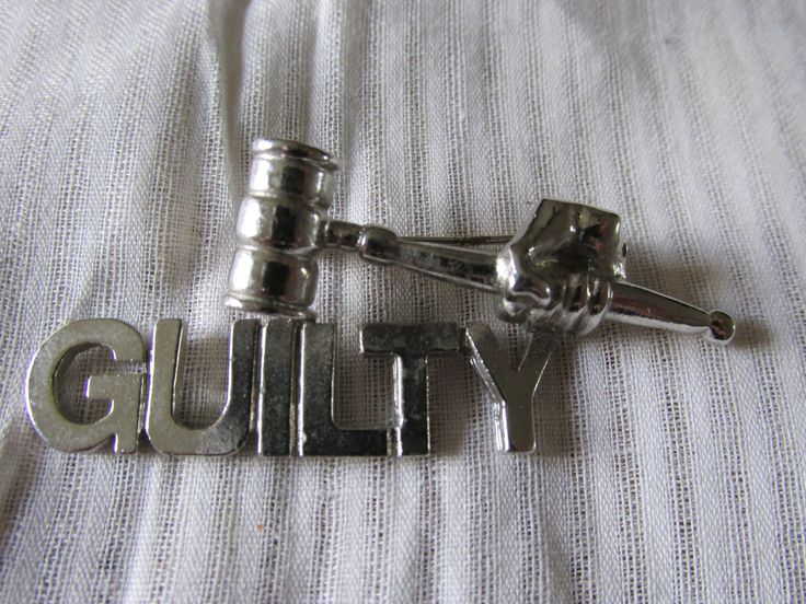 """Vintage Prosecutor or JUDGE GUILTY BROOCH Silver Tone Measures 2 1/2"""" x 1"""" Unmarked Uni Sex Heavy Collectible All Occasion Gift Law Student by GrammiesCupboard on Etsy"""