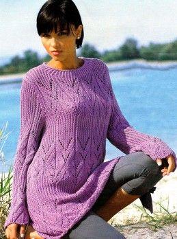 Длинный пуловер из ажурного узора с резинкой