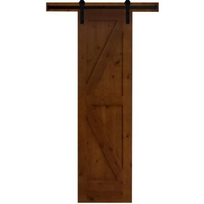 Steves Sons 24 In X 84 In Rustic 2 Panel Stained Knotty Alder Interior Barn Door Slab With