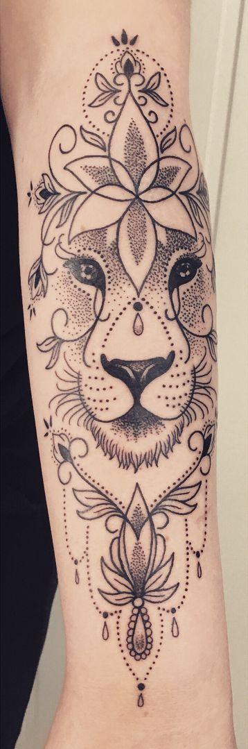 ornamental lion tattoo © tattoo artist Ljungberg Tattoo 💕🐵💕🐵💕… #Tattoos #Ale