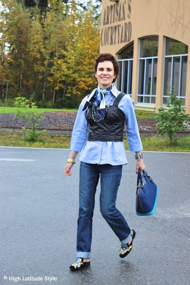http://highlatitudestyle.com/2017/10/16/hydro-power-fails-to-keep-electricity-costs-low-in-winter #fashionover40 #midlifefashion woman in leather vest with jeans