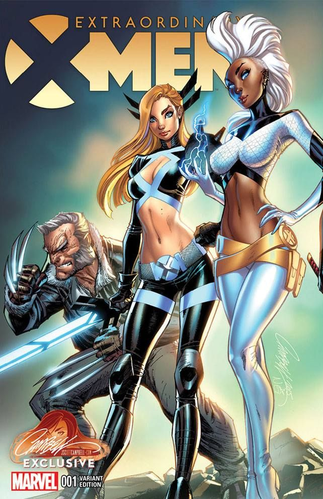 Extraordinary X-Men #1 variant cover by J. Scott Campbell, colours by Nei Ruffino *