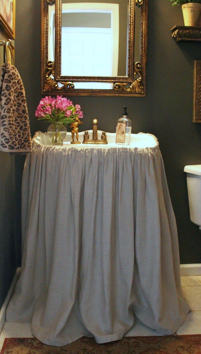 How To Make A Skirted Pedestal Sink-Easy Sewing Tutorial