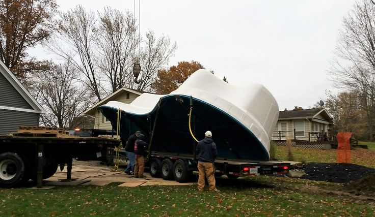 """It's November - in northern Ohio. Perfect weather for delivering a Leisure Pools """"Eclipse"""" in Crystal Blue! It's always the right time to get your own composite fiberglass swimming pool - and Ohio Custom Pool & Patio of Cleveland, Ohio proved it once again with this delivery - on November 17th! Coming soon - pictures of another happy family enjoying their well-deserved life of leisure!"""