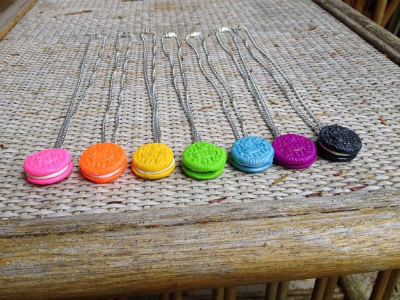 Colored Clay Oreo Necklaces by TilliesClayTreats on Etsy great for you and your best friends