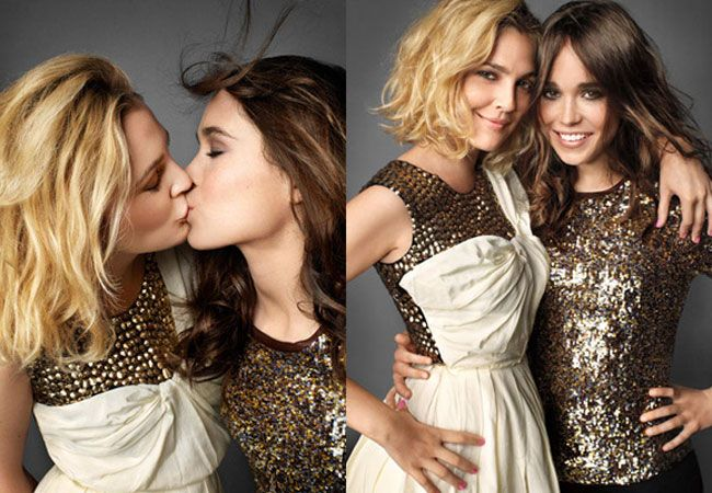 Drew Barrymore locks lips with Whip It co-star Ellen Page for Marie Claire. Photo: Peggy Sirota