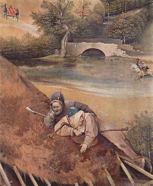 """Hieronymus Bosch (Hertogenbosch 1453 – 's-Hertogenbosch 1516), """"Trittico dell'Adorazione dei Magi"""" 1484-1500 circa.   olio su tavola 138×144 cm 138x72 cm ( tavola centrale ),  138x33cm ( tavole laterali )  Madrid, Museo Nacional del Prado. Dettaglio del pannello centrale, i pastori sul tetto della capanna"""