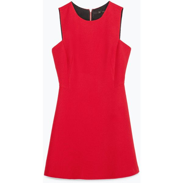 Zara Short Dress (€62) ❤ liked on Polyvore featuring dresses, red, vestidos, שמלות ואוברולים, zara dresses, red dress, mini dress, short dresses and short red dress