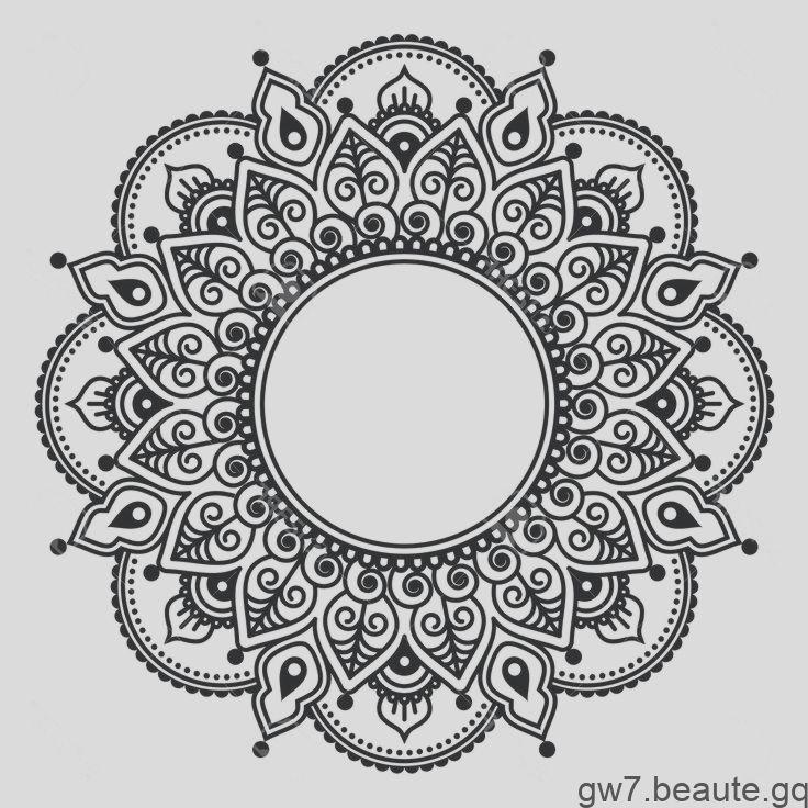 Mehndi Spitze Indian Henna Tattoo runde Design oder Muster Standard-Bild  4030 – Tatouage floral